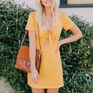 Socialite mustard linen tie front dress